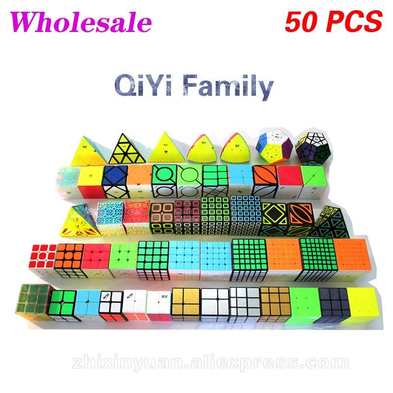 QiYi Family Magic Cube Set Wholesale Lots Bulk 50 PCS 3x3x3 4x4x4 5x5x5 6x6x6 Packing Puzzle Toys