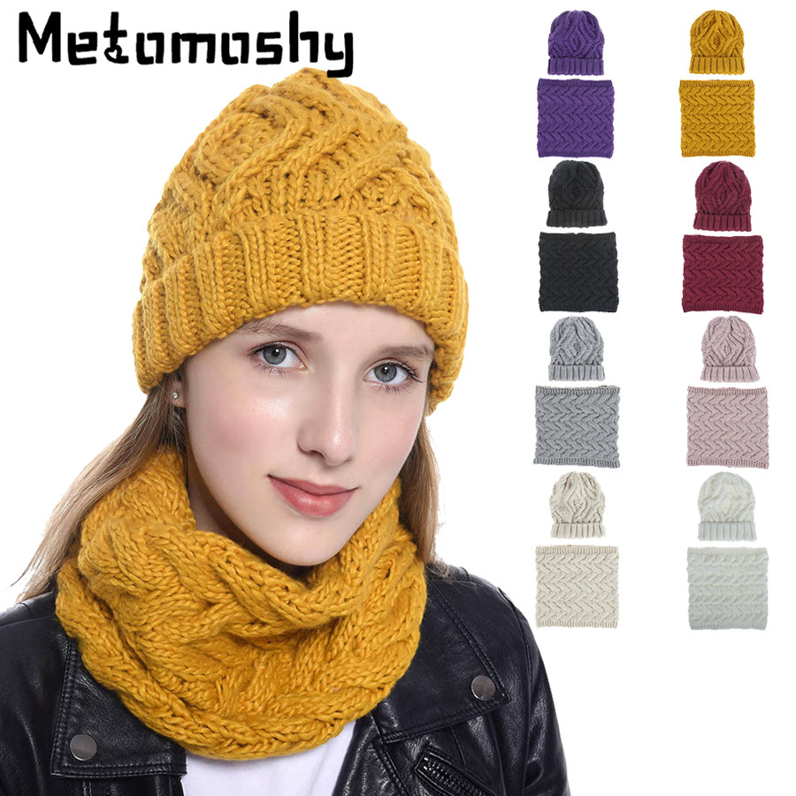 2019 New Hat & Scarf Women Two Pieces Knitted Woman Winter Wool Beanie Cap Keep Warm Neckerchief Men Women Winter Accessories