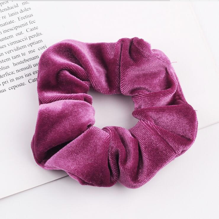 33 цвета, корейские Бархатные резинки для волос, эластичные резинки для волос, одноцветные женские головные уборы для девушек, заколки для волос с конским хвостом, аксессуары для волос - Цвет: Rose Red