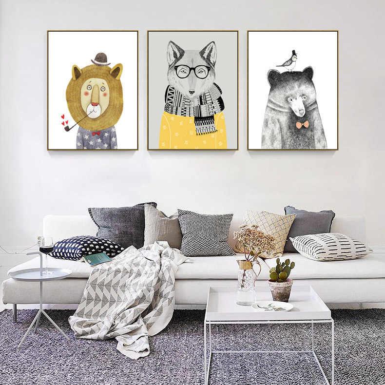 Nordic Entzückende cartoon lion Tier Bär Panda Leinwand Malerei Kunstdruck Poster Bild Moderne Wohnkultur Kind Schlafzimmer Decor