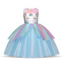 Детское платье для девочек с радужным градиентом единорогом