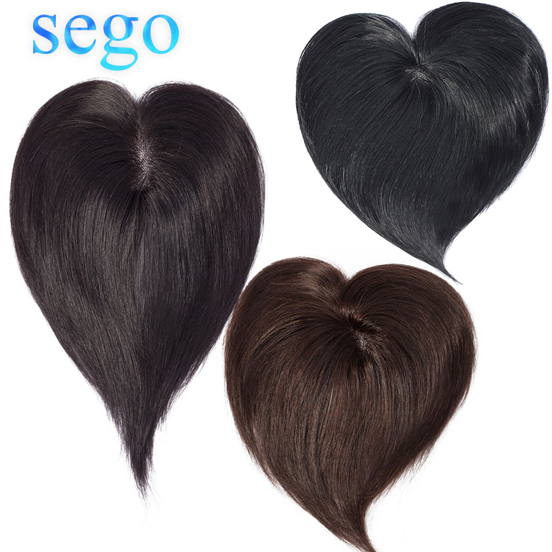 SEGO 7x8cm Straight Mono Base Hair Topper Non-Remy Human Hair Pieces For Women Toupee Hair Clips In 100% Human Hair