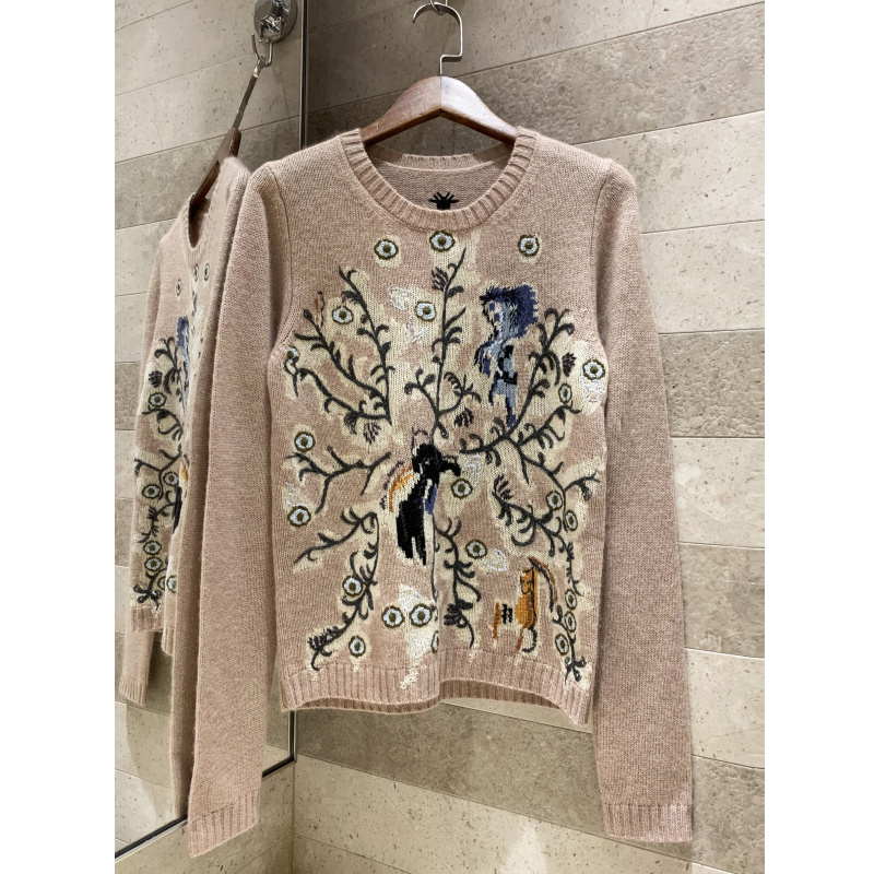 2019 automne hiver nouvelle qualité exquis jacquard broderie cachemire pull femmes col rond pull pull court chandail