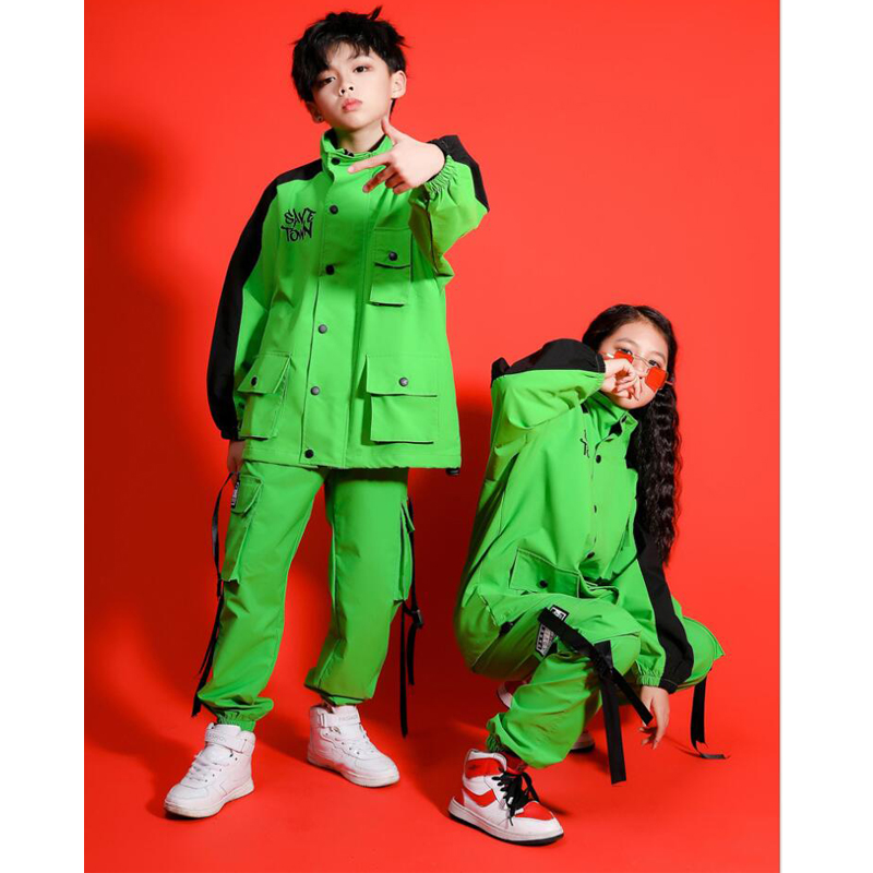 Kids Performance Hip Hop Clothing Pockets Jacket Top Coat Running Casual Cargo Pants For Girls Boys Jazz Dance Costume Clothes