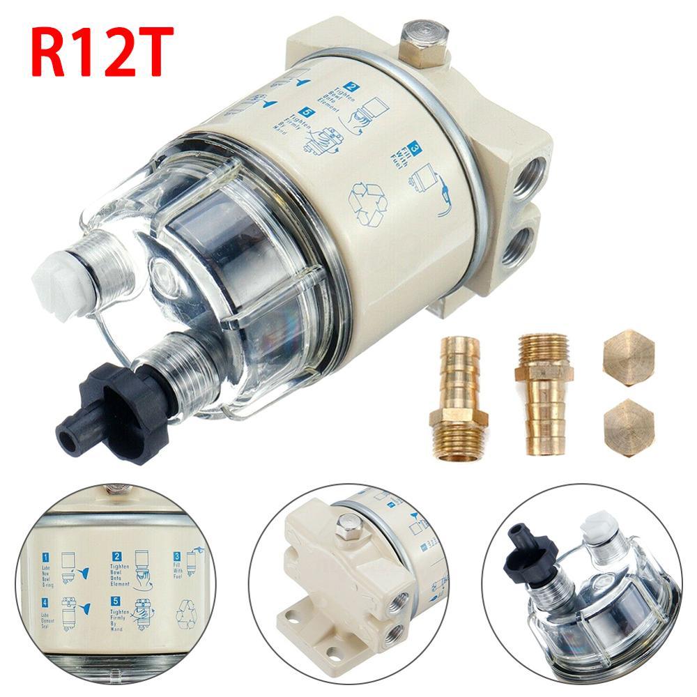 R12T 스핀 온 연료 수분 분리기 필터 잔디 깎는 기계 디젤 엔진 보트 마린 디젤 가솔린 발전기 엔진 자동차 부품