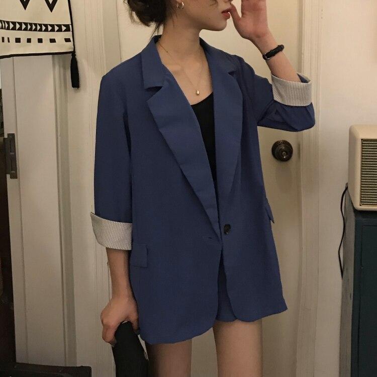 Shorts 2 Piece Set Women Black Striped Cuff Blazer Jacket Elastic Waist Shorts Notched Collar Single Button Elegant Fashion Suit