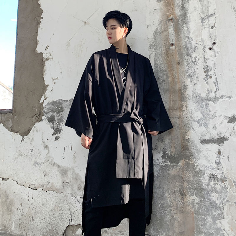 Men Asymmetric Design Loose Casual Japan Kimono Cardigan Trench Jacket Male Streetwear Hip Hop Windbreaker Trench Coat
