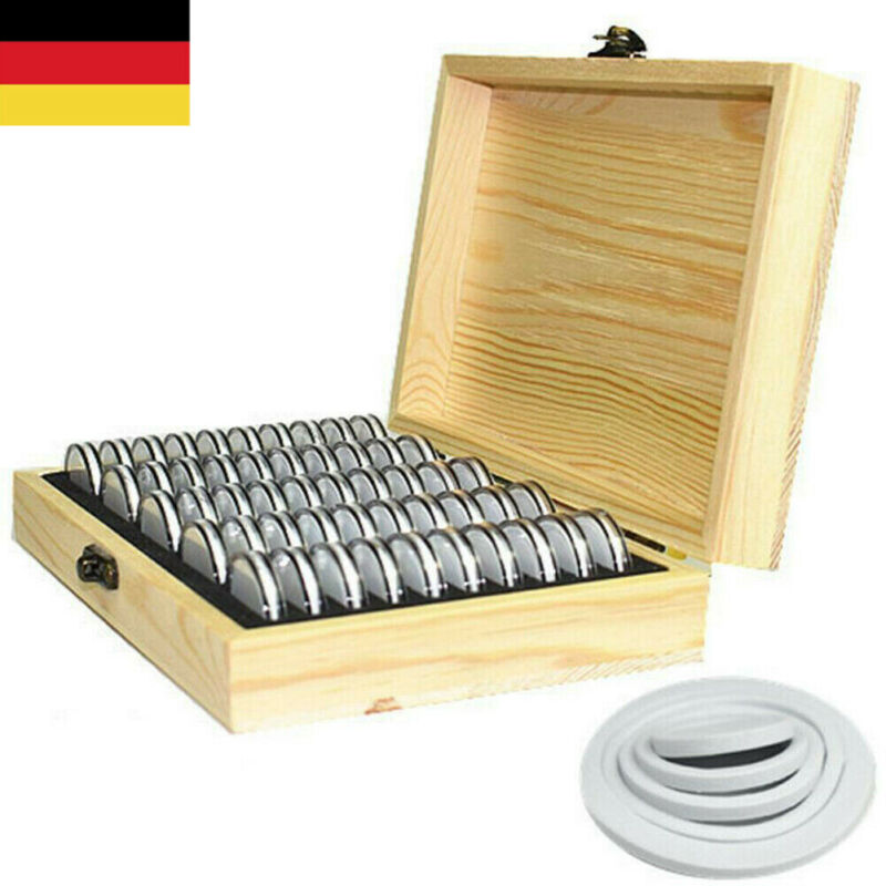50Pcs Storage Container Wooden Round Coins Capsules Case Coins Collection Box 18-30mm Display Case Storage Box