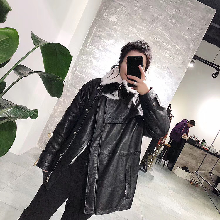 Genuine Sheepskin Leather Jacket Women Winter 2019 New Fashion Real Wool Fur Coat Oversize Clothing