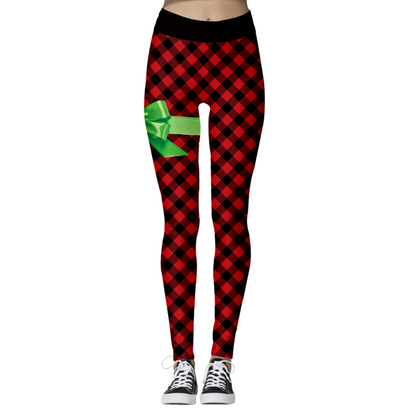 Christmas Sports Pants Leggings Women Plus Size Pants Digital Print Fitness Leggins Black Red