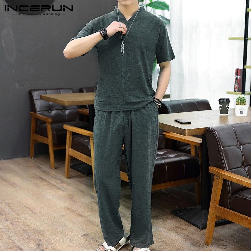 INCERUN Chinese Style Men Sets Solid Color Short Sleeve 2021 Shirt Pants Streetwear Cotton Vintage Tang Suit 2 Pieces Mens Suit