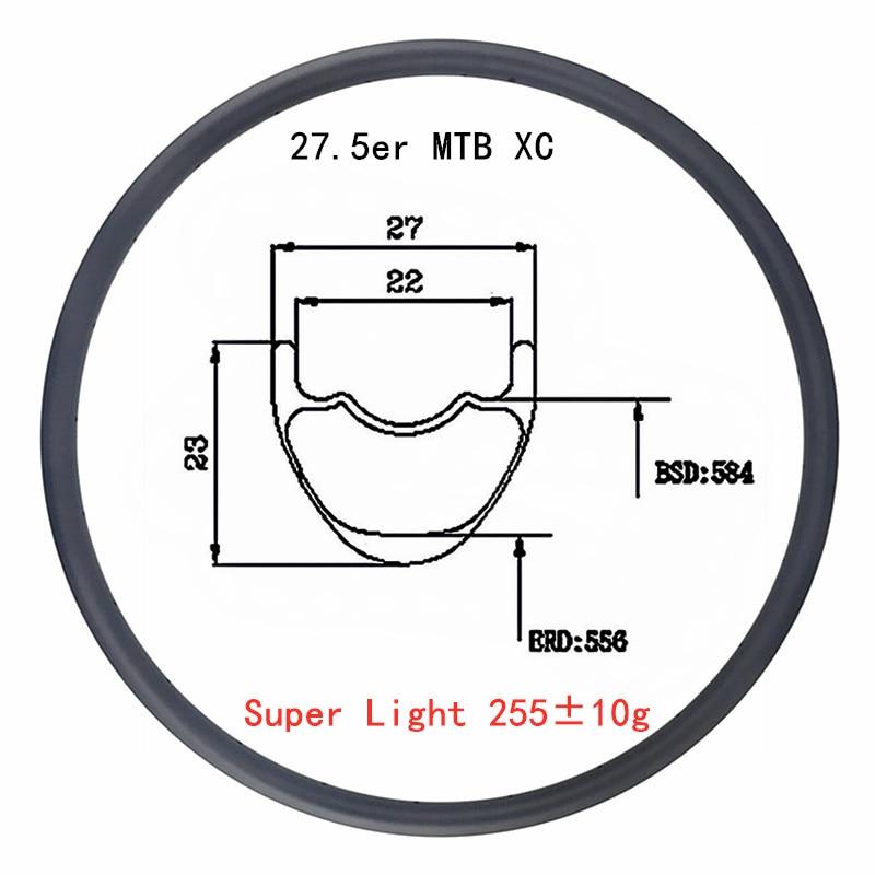 Super Light 255g clincher tubeless 27.5er 27mm x 23mm carbon rim UD 650B MTB XC cross country mountain bike rim 24 28 32 holes