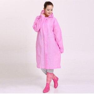 Image 5 - ファッション女性男性エヴァ透明レインコートポータブルアウトドア旅行レインウェア防水キャンプフード付きポンチョプラスチック雨カバー