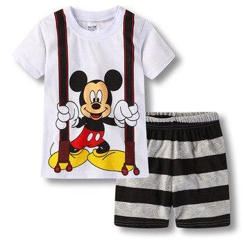 ¡Novedad! Pijamas para chicos de Mickey, conjunto de pijamas de algodón de verano, Pijama para niños, ropa de dormir para el hogar de manga corta, trajes de 1 a 7 años