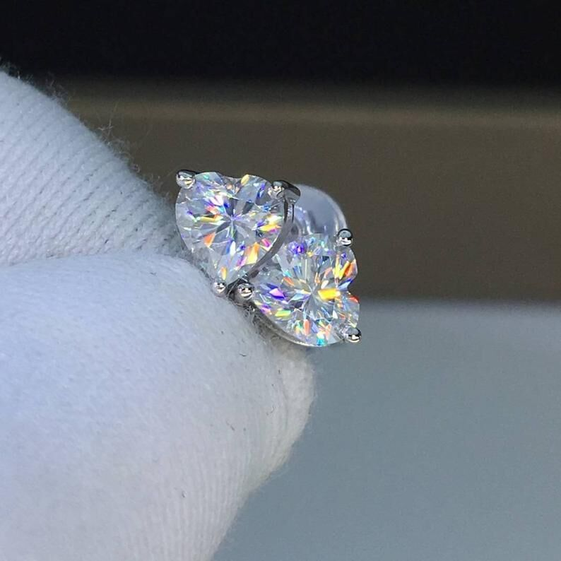 Heart Shape Stud Earring AAAAA Cz Stone Real 925 Sterling Silver Simple Party Wedding Stud Earrings For Women Bridal Jewelry