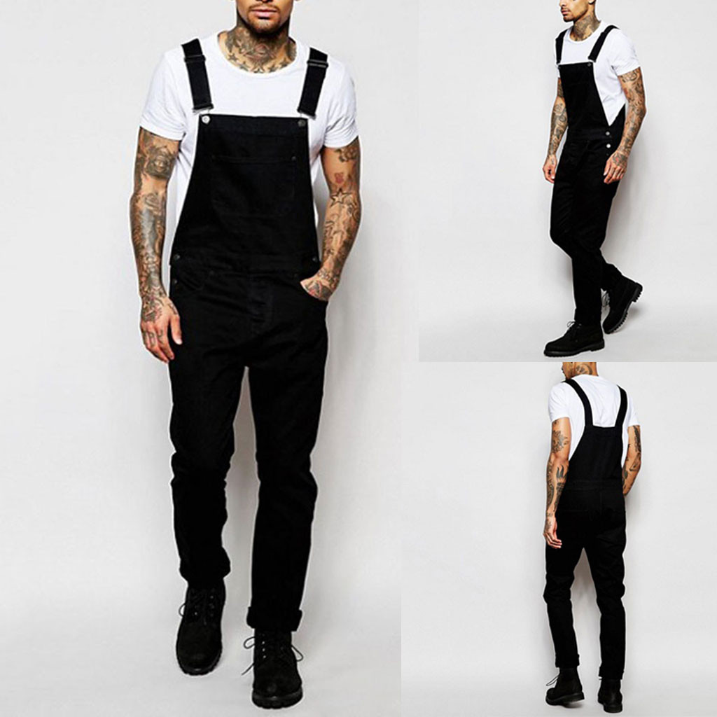 Mens Summer Multi-pocket Jeans Overall Jumpsuit Casual Streetwear Overall Suspender Pants H0918