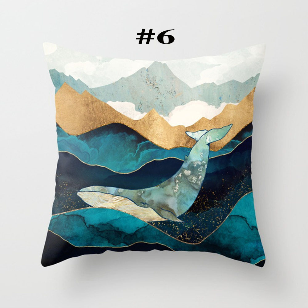 Throw Pillow Cover Case Living Room Decorative Covers 45x45cm Geometric Mountain Sun Whale in Pillow Case from Home Garden