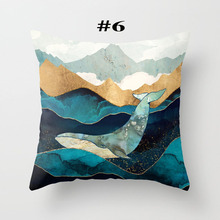 Throw Pillow Living Room Decorative Covers 45x45cm Geometric Mountain Sun Whale with 45*45cm Core