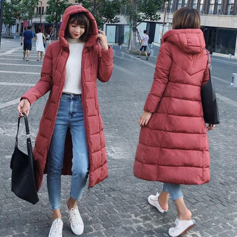 Winter Woman Padded Hooded Long Jacket Down Female Overcoat Ultra Light Slim Solid Jackets Coat Waterproof Windproof Parkas