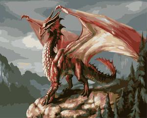Красный дракон два животного DIY картина по номерам Настенная картина Акриловая картина для украшения дома Прямая поставка 60x75cm