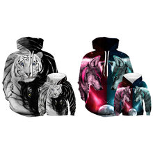 AliExpress Hot Selling 3D Tiger Wolf Digital Printing Hoodie Parent-child Matching Outfit Loose-Fit Adult Baseball Uniform(China)