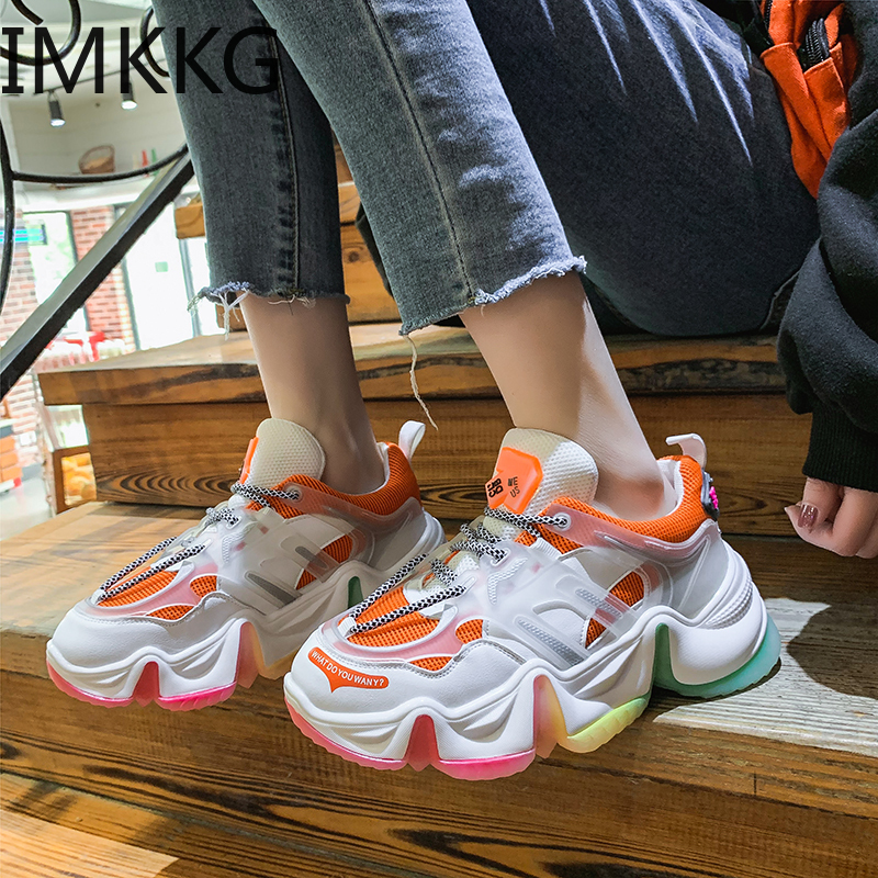 High Quality Breathable Mesh Walking Shoes Trainers Chunky Heels Women Platform Sneakers Casual Female Shoes 2020 New