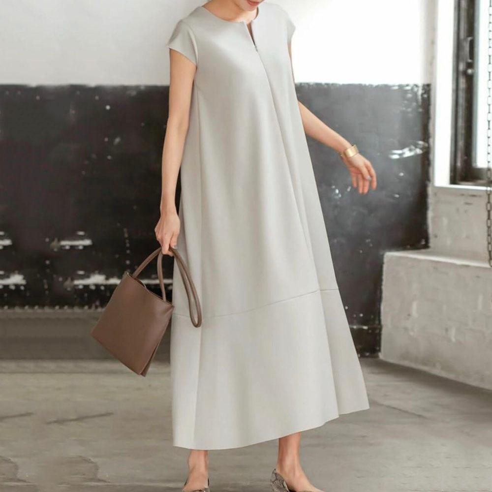 Black Summer Women Plain OL Dress Short Sleeves A-line Mid-Calf Korean Style Dress Daily Simple Casual Dresses Vestidos