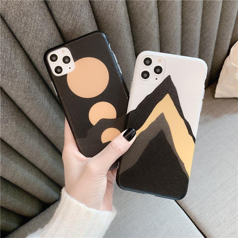 JAMULAR INS Mode Geometrische Ausgestattet Fall Für iPhone XR 7 XS MAX 11 Pro X 8 6 6s Plus abstrakte Kunst Weiche IMD Telefon Abdeckung Capa Tasche