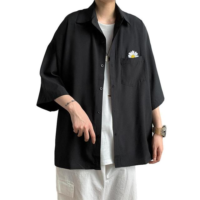 рубашка shirt men Marguerite Three-quarter Sleeves Shirt Pocket Summer Men Casual Top Workwear shirts for men  рубашка мужская 1