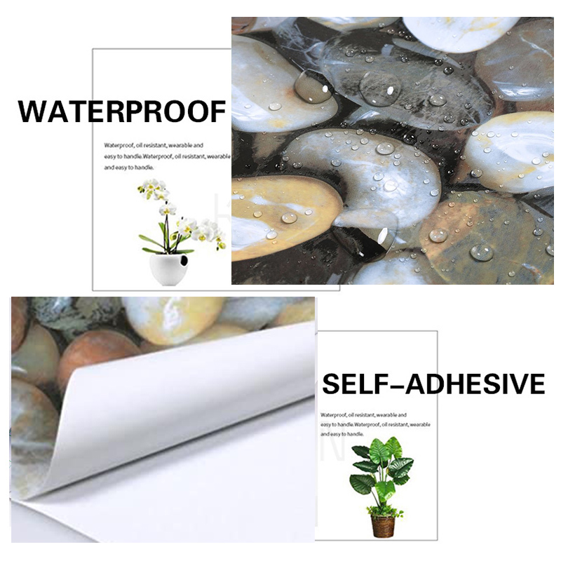 3D Cobblestone Self Adhesive Wallpaper Vinyl Wrap Film Kitchen Countertop Peel Stick Wallpaper Decal DIY Wall Stickers 55cm*10m