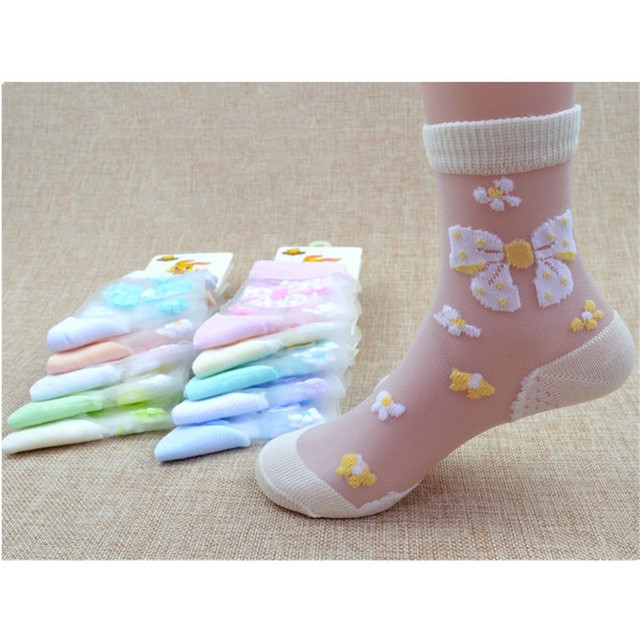 1/4Pairs/Lot Summer Girls Lovely Butterfly Crystal Silk Socks Children Kids Baby Girl Mesh Floral Elastic Lace Flowers Socks   Happy Baby Mama