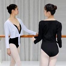 Women Black White Tie Up Ballet Dance Tops Girls Warm Long Sleeve Outwear Ladies Daily Gym Wear