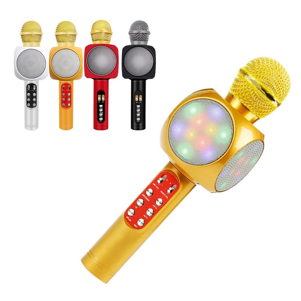 WS1816 Handheld Microphone Wireless Bluetooth Karaoke Microphone USB Player Mic Speaker With Noise Cancellation For Home KTV