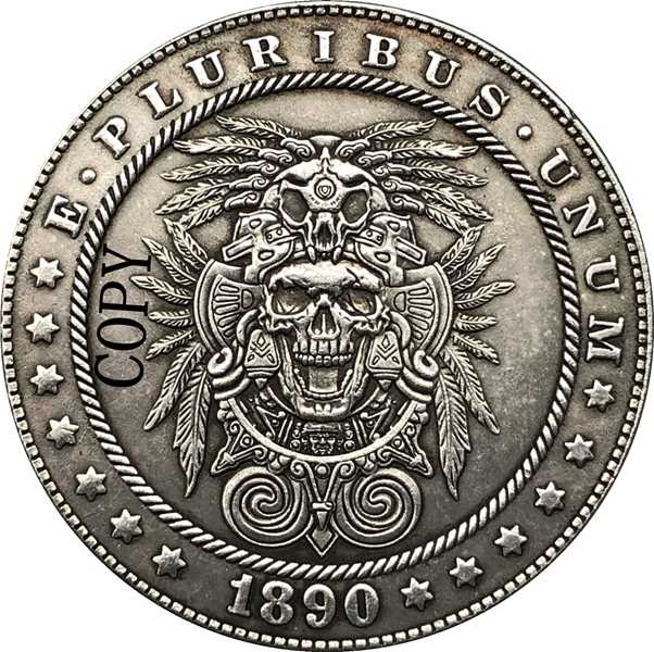 Hobo Nikkel 1890-CC Vs Morgan Dollar Munt Copy Type 188