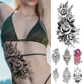 Tatuaje temporal impermeable pegatina encaje gema cráneo Rosa Flash tatuajes León zorro cuchillo y serpiente arte corporal brazo tatuaje falso mujeres hombres