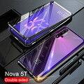 360 двухсторонний стеклянный чехол для huawei Nova 5T чехол с магнитным металлическим бампером задняя крышка для huawei Nova5T Honor 20 Pro чехол s