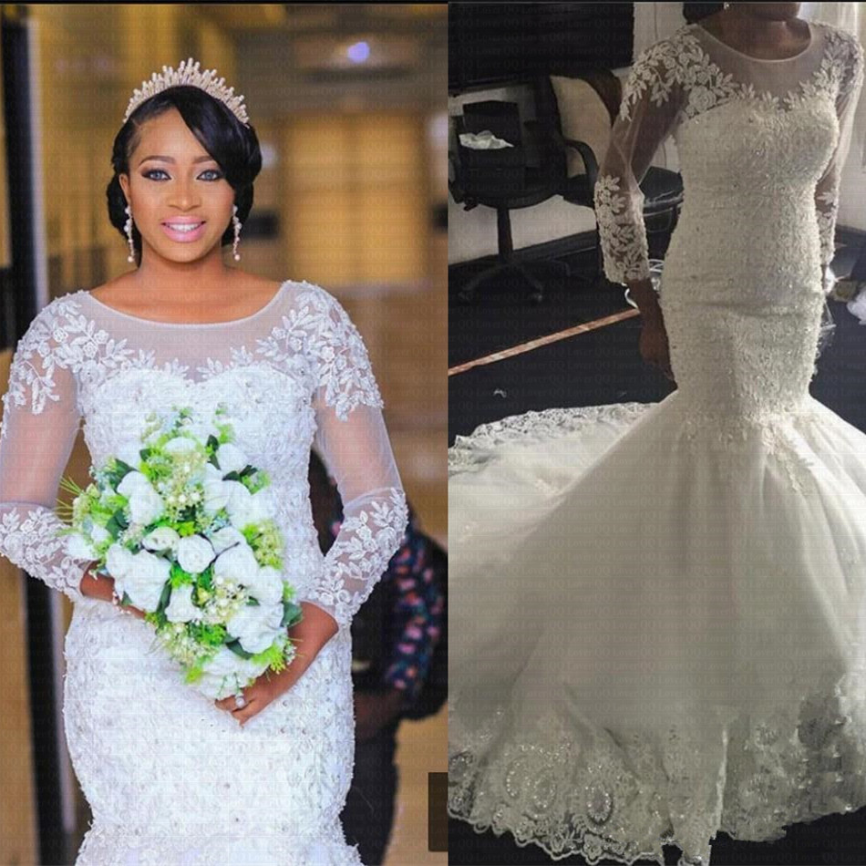 Modest Mermaid Wedding Dresses Long Sleeve 2020 Plus Size African Nigeria Lace Appliqued Beads Bridal Wedding Gowns