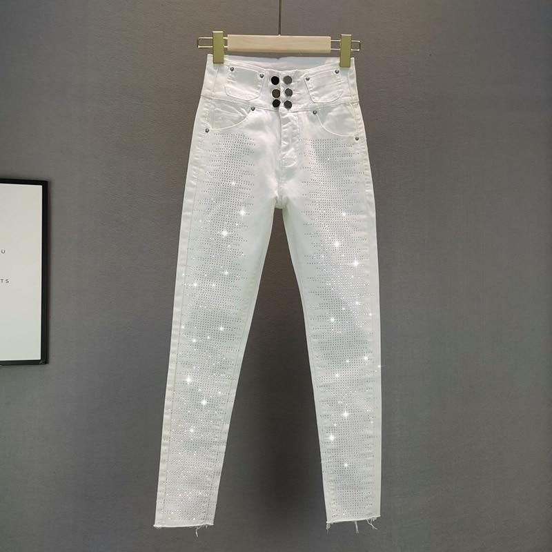 High Waist White Jeans For Women 2020 Summer Wear New Elastic Slim Fit Rhinestones Hot Drill Pencil Pants Ladies  Denim Pants