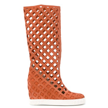 Summer perforation hole knee high boots height increasing women suede wedges hee
