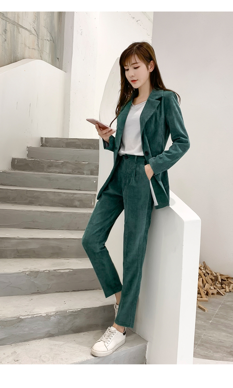 Autumn Winter Blazer Pants Suit Women Korean Chic Fashion Office Ladies Green Corduroy Casual High Waist Small Feet Pants Suit 54