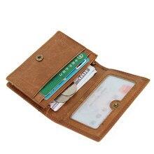 Mini billetera de cuero genuino con bloqueo Rfid para hombre y mujer, cartera pequeña de cuero genuino, soporte de Tarjeta De Nombre con broche Vintage, monedero corto y práctico