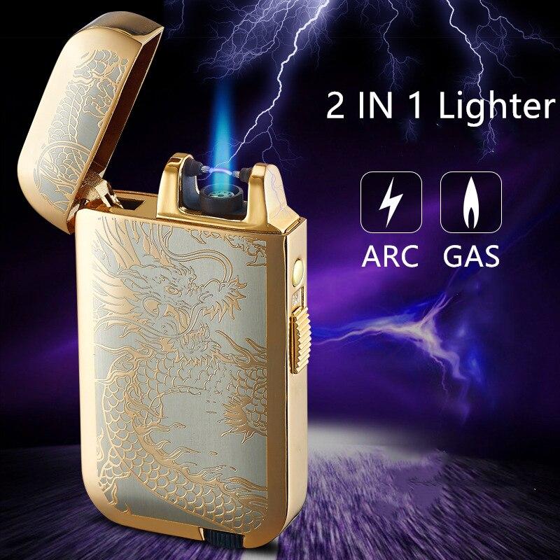 Plasma Arc Lighters Cigarette Recharge Double-Flame Electronic Refillable Smoking-Al002