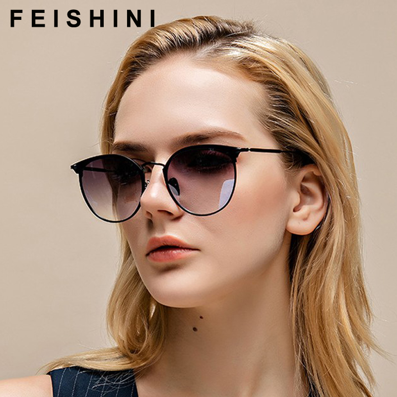 FEISHINI Marke Oval Metall Rahmen Cat eye Sonnenbrille Damen 2020 Mode Trendy Frauen Gläser UV Protector Gradienten Grau