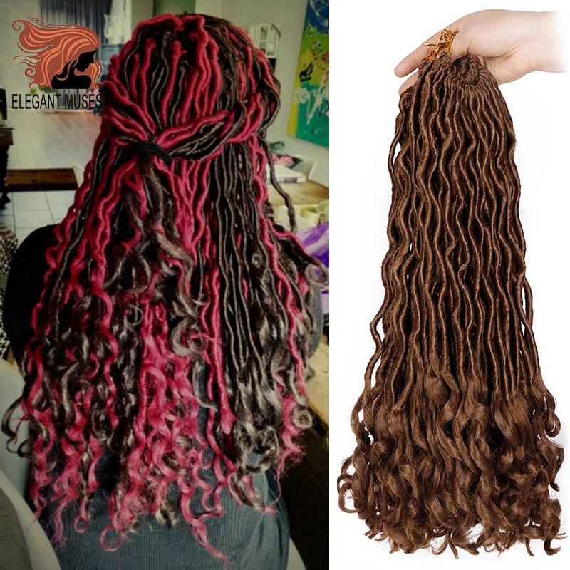 ELEGANT MUSES Crochet Hair Extensions Bohemian Faux Locs Curly Crochet Braiding Hair Synthetic Hair Ombre Braids