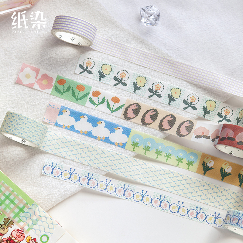 Mohamm 1Pcs Kawaii Spring Series Tape Creative Decorative Washi Masking Tape Scrapbooking Stationery School Supplies