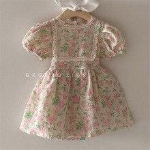 Korean Style Toddler Girl Summer Vintage Tutu Dress Floral Pattern Kids Girls Short Sleeve Dresses Baby Fashion Summer
