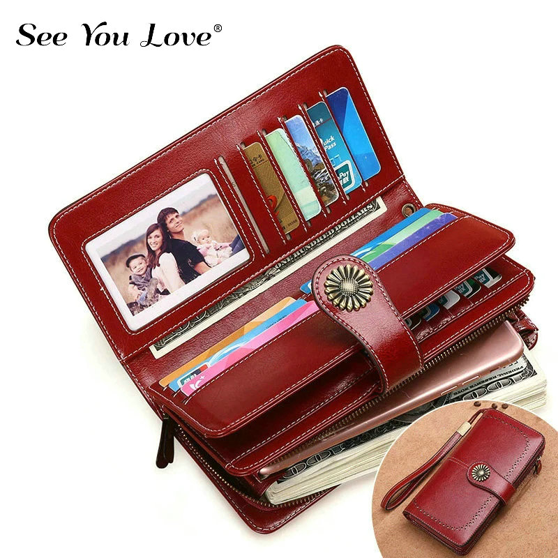 New Phone Pocekt Genuine Leather Wallet Woman Purse Girl Red Fashion Long Zipper Clutch Female Wallets Women Purses Card Holder