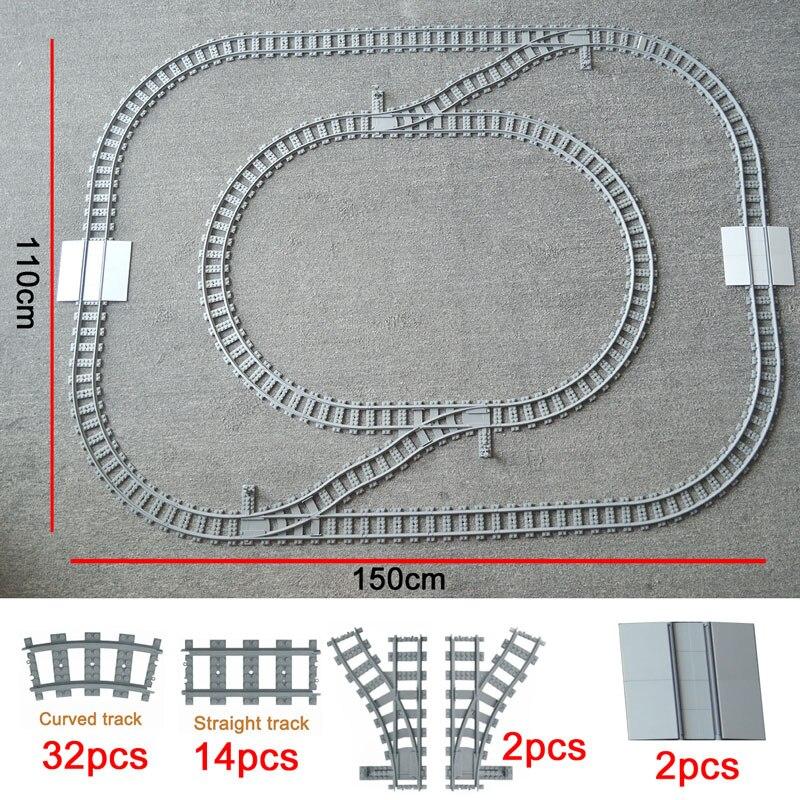 City Trains Track Train Flexible Tracks Rail Straight Curved Rails Building Block Bricks Model Compatible LegoINGlys Train