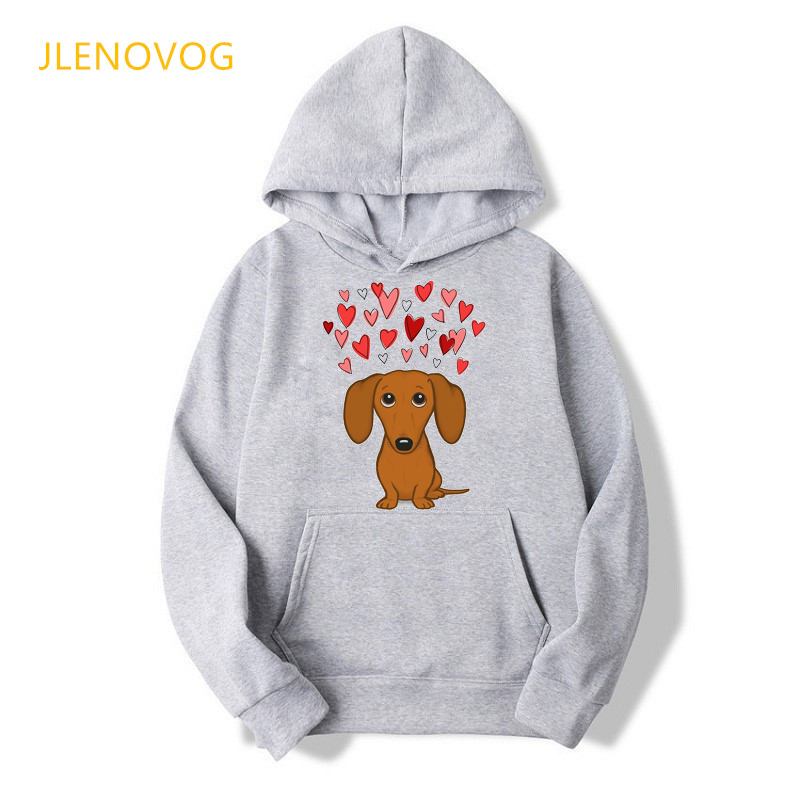 Cute Dachshund Dog Love Cartoon Print Hoodies Women Clothes 2021 Funny Vogue Sweatshirt Femme Harajuku Kawaii Winter Tracksuit 13