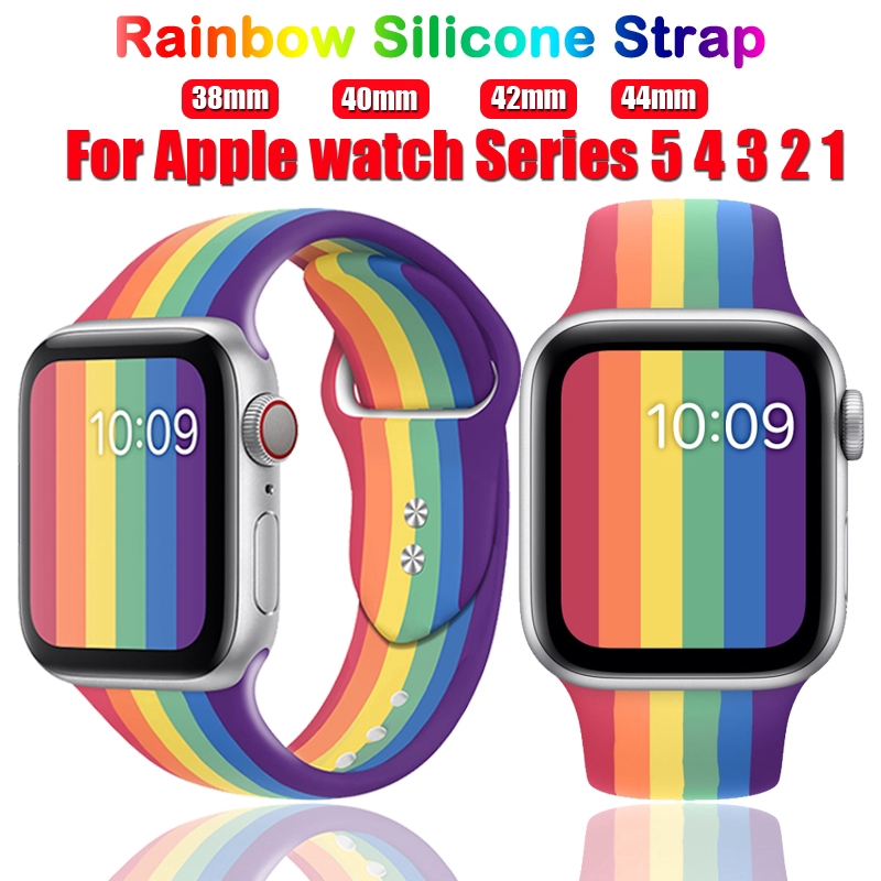 Rainbow Strap for apple watch band 40mm 44mm 38mm 42 mm Series 5 4 3 2 1 Sport silicone belt for bracelet watch accessories image